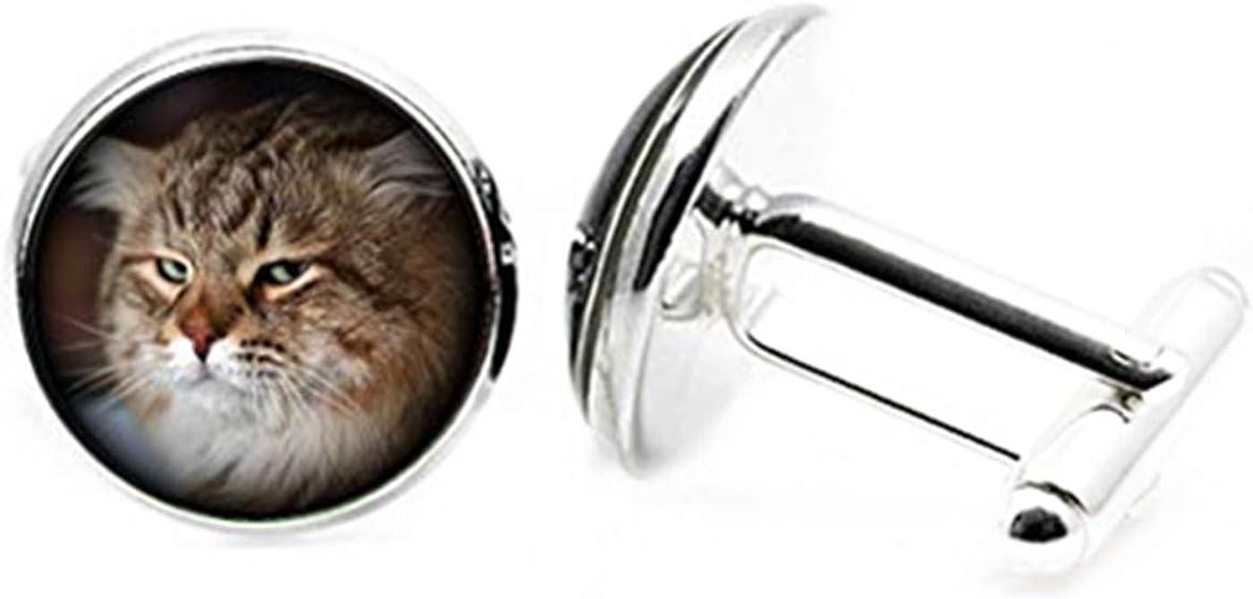 Fashion flowers Popular standard Cat Photo Custo Dome Glass Cufflinks At the price