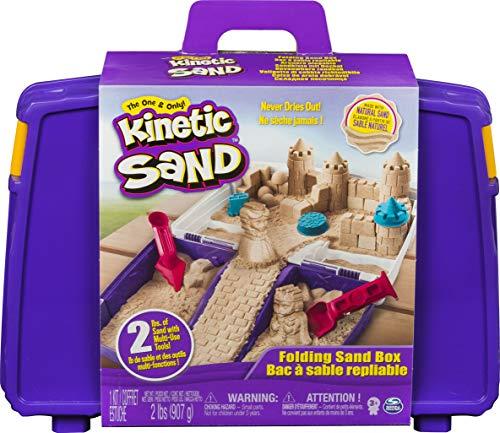 KINETIC SAND - MALLETTE D'ACTIVITÉS 907 G de sable - Mallette Repliable - Bac De Jeu - JOUET ENFANT 3 ANS ET + - 6037447 - Loisirs Créatifs