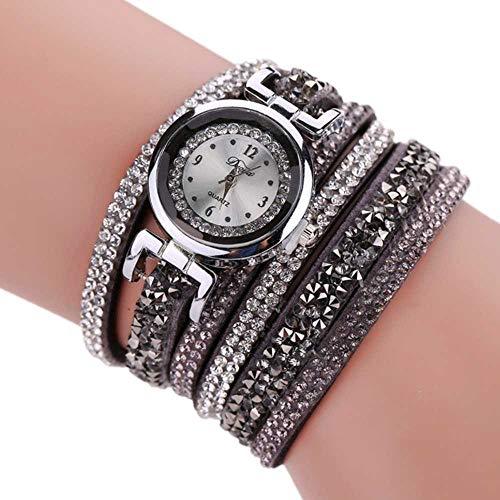 Venta de liquidación, WSSVAN El viento étnico de las mujeres de la serie tejida alrededor del anillo pulsera de mesa pequeño dial damas PU pulsera reloj diamante correa larga moda reloj (gris)