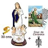 Figura Inmaculada Concepción 30 cms. Pintada a Mano, con Capa Tipo Terciopelo. De...