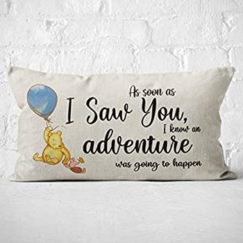 Winnie The Pooh and Piglet Friendship Throw Pillow Case Gifts for Daughter Son Granddaughter Grandson Children Room Decor 20 x 12 Inch Winnie FriendshipLinen Cushion Cover for Sofa Couch Bed