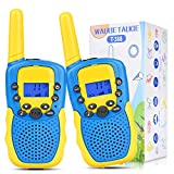 Swiftion 2 Pack Walkie Talkies for Kids 3-14 Year Old, 22 Channels 2 Way Radio with Clips& Flashlights, Toddler Walkie Talkie 3 KMs Range for Hiking, Camping, Biking(Blue&Yellow)