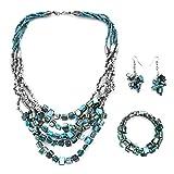 Handmade Coastal Blue Seed Bead Earrings Wrap Bracelet Multi Strand Boho Necklace Stainless Steel Jewelry Set 22'