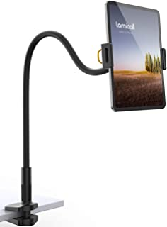 """Gooseneck Tablet Holder, Lamicall Tablet Mount - Flexible Arm Clip Tablet Stand Compatible with iPad Mini Pro Air, Galaxy Tabs, Switch, More 4.7-11"""" Devices - Black"""