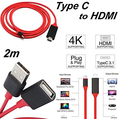 Cable USB HDTV MHL - Adaptador HDTV 1080P Cable HDMI Macho a USB 2.0 Hombre y Mujer Código convertidor de Video HDMI HD para teléfono Teléfono Inteligente Teléfonos Android - Rojo