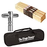 On Stage Hickory Nylon 5B (12 pair) + Chrome Plated Drum Tunning Key + Drum Stick Bag - Top Value Bundle!