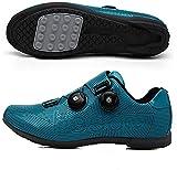 WYUKN Chaussures de Cyclisme VTT pour Hommes et Femmes Chaussures de Sport de Vélo de Plein Air Chaussures de Vélo de Filature Professionnelle sans Serrure,Blue-39EU