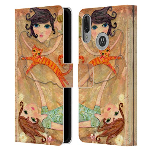 Head Case Designs Officially Licensed Wyanne Best Friends Big Eyed Girl Leather Book Wallet Case Cover Compatible with Motorola Moto E6 Plus