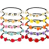 10 diademas de flores artificiales multicolor hawaianas con corona floral para festivales, bodas y fiestas
