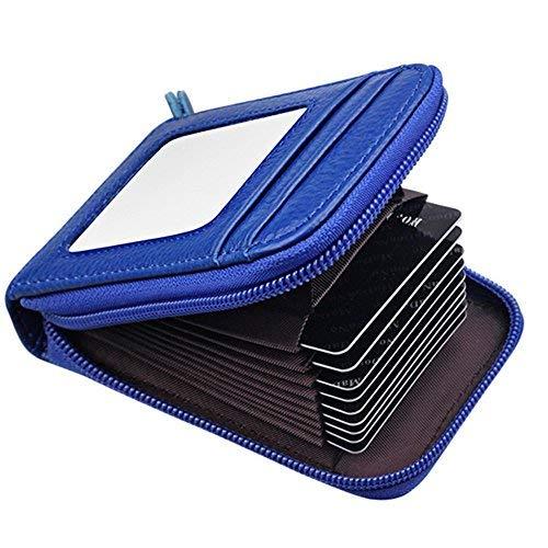 Leaptech Leder Karten Geldbörse Leder Kreditkartenetui RFID Scheckkarten Kartenetui Visitenkartenetui Hülle-Halter-Schutz Damen Herren 12 Fächer (vertikale-Blau)