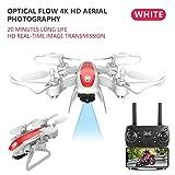 Safe RC Aviones no tripulados WiFi FPV cámara 4K Doble Drone óptico Posicionamiento RC helicóptero Altitud Hold Tiempo de Vuelo Largo Plegable Quadcopter Dron (Color : 4K Camera White)