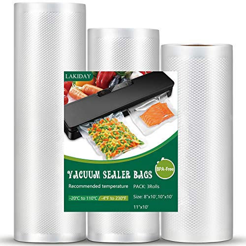 """Vacuum Sealer Bags Vacuum Seal Roll Seal a Meal Commercial Grade BPA Free Heavy Duty Great for vac storage bag Meal Prep and Sous Vide 3 Rolls 8""""x 10ft,10""""x 10ft,11""""x10ft(total of 30 feet)"""
