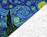 Pintar por numeros Van Gogh - La noche estrellada - Pintura para pintar por números con pinceles y colores brillantes - Cuadro de Lienzo con numeros dibujados para adultos y niños