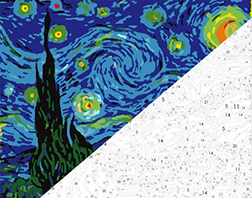 Pintar por numeros Van Gogh - La noche estrellada - Pintura para pintar por numeros con pinceles y colores brillantes - Cuadro de Lienzo con numeros dibujados para adultos y ninos