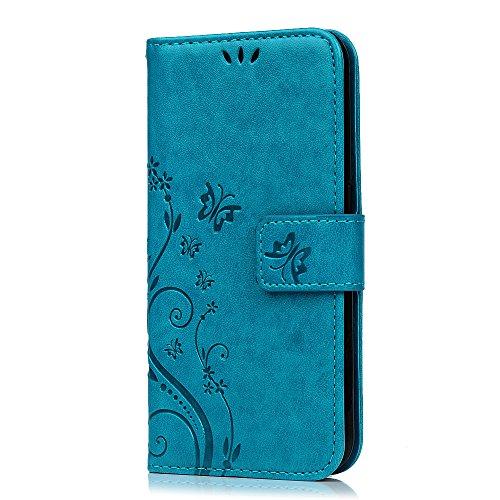 Coque pour Samsung Galaxy S6 Etui Housse Cuir Portefeuille à Clapet Flip de Carte Slots Magnétique Emplacements de Cartes, Fonction Support pour Samsung Galaxy S6- MAXFE.CO - Bleu