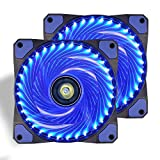Ventilador de PC,CONISY 120 mm LED Gaming Ultra Silencioso Ventiladores para Caja de Ordenador (Doble Azul)