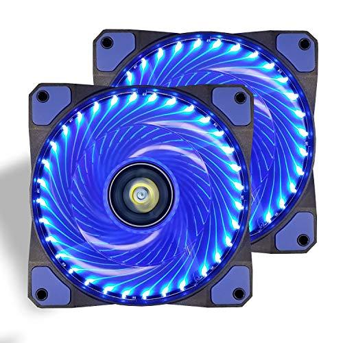 conisy Gehäuselüfter 120mm Ultra Leise PC Lüfter mit LED Licht für Computer Gehäuse (Doppel,Blau)