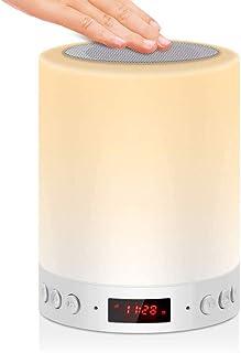 Lámpara de noche con altavoz Bluetooth con radio FM reloj despertador digital reloj digital, Touch Control RGB cambio de color luz nocturna