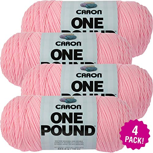 Caron Soft Pink, One Pound Yarn, Mutlipack of 4, 4 Pack