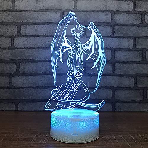 Bone Dragon Model 3D Led Optical Illusion Smart Night Light, 7 colores que cambian USB Power Touch Switch Decoración Lámpara Mesita de noche Lámpara de escritorio Regalo de Navidad para niños