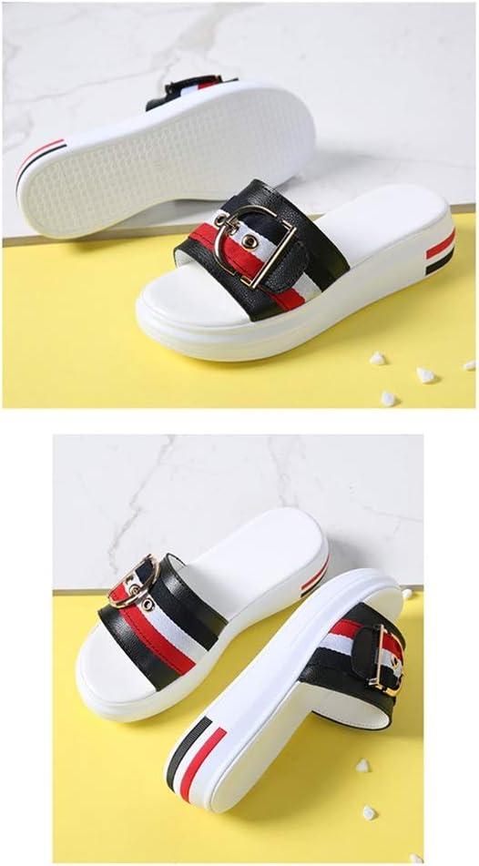 Zholyanbinx Summer Wear Pantoffels voor dames, nat water, strandschoenen, mode, zee, vakantie, dik fundament, dagelijks, eenvoudig, verhogen, comfort zwart