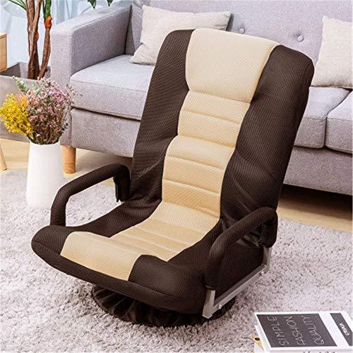 MERITLINE Swivel Video Rocker Gaming Chair Adjustable 7-Position Floor Chair Folding Sofa Lounger (Brown+Beige) brown chair gaming