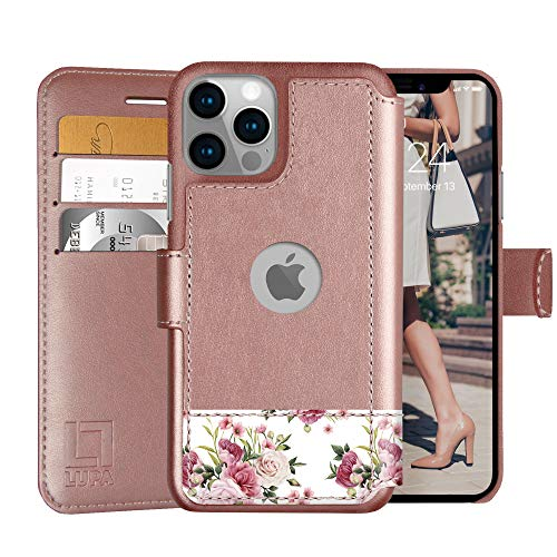 LUPA iPhone 12/12 Pro Wallet Case -Slim iPhone 12/12 Pro Flip Case with Credit Card Holder, for Women & Men, Faux Leather iPhone 12/12 Pro Purse Cases with Magnetic Closure, Floral Charm