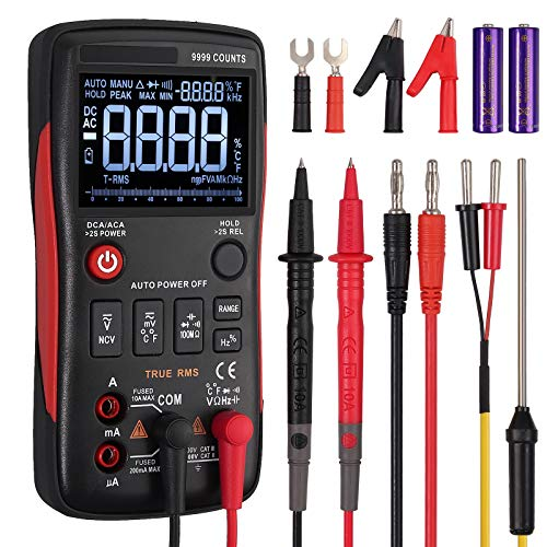 Neoteck TRMS 9999 Counts Auto-ranging Digital Multimeter, All Button Design, EBTN Technology LCD Display with Analog Bargraph