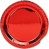 Paquete de 100 Platos de Aluminio Brillante Platos Color Oro Rosa Desechables Redondos de 9 Pulgadas Accesorios Dorado Rosa para Comida de Fiesta, Cena, Almuerzo, Postre o Aperitivo