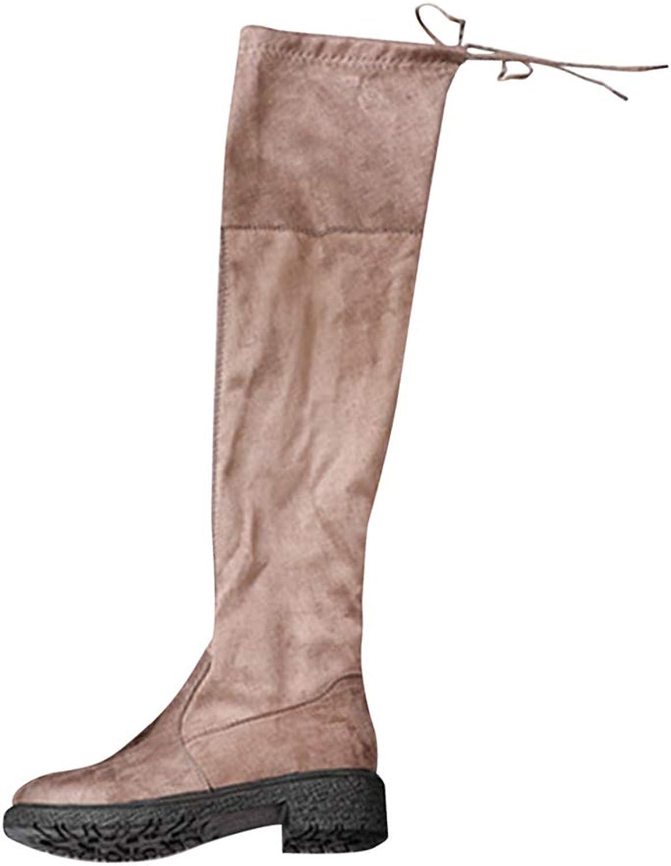 Uirend Fancy Dress for Women - Ladies Over The Knee Boots Block Heel Fur Lined Warm Winter Casual Slim Biker Boots