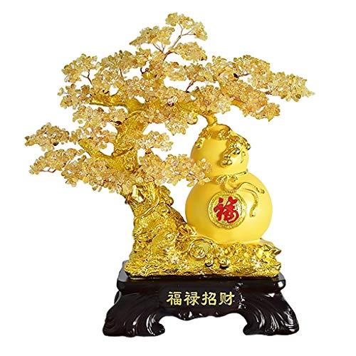 Árbol del dinero bonsai feng shui Decoración de cristal de estilo de Bonsai-Feng Shui adorna el reloj del cristal natural del árbol del dinero Bonsai for la suerte y la riqueza de Feng Shui suerte Fig