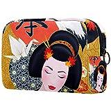 Neceser – Organizador grande de maquillaje cosmético de viaje para hombres y mujeres, diseño de grulla japonesa de geisha, flores de cerezo