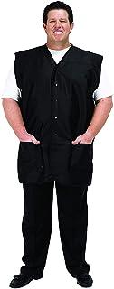 A Size Above Big & Tall Vented Mesh Back Barber Vest, Black, 1X
