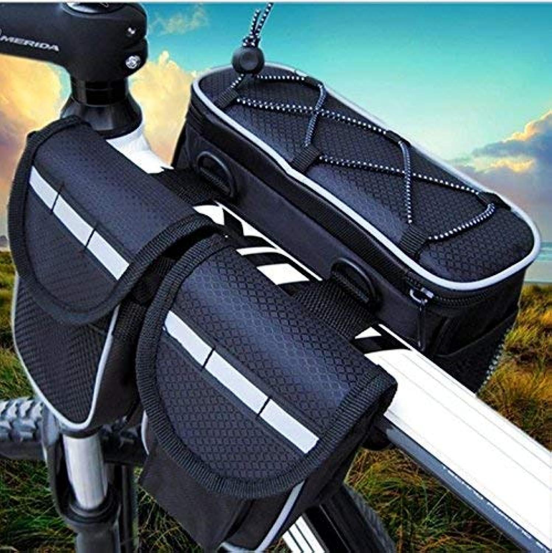 Handlebar Bicycle Bag Waterproof and ShockProof Multiple Pockets Patchwork color WearResistant Large Capacity Bike Bags