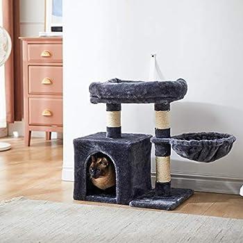 IBUYKE 58cm Arbre à Chat Colonne en Sisal, avec Grande Plate de Luxueuses, 1 Maison et 1 Panier, Arbres de Meubles de Maison de Chatons, Gris foncé CT002G