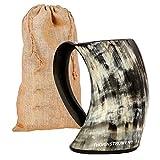 Original Viking - Jarra para beber con diseño de cuerno y bolsa de regalo de arpillera medieval