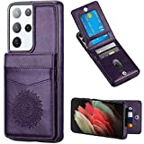 WESADN Compatible with Galaxy S21 Ultra 6.8-Inch 5G Wallet Leather Case Card Holder Function Slim Kickstand Protective Shockproof Credit Card Slot Cover for Women for Galaxy S21 Ultra,Purple