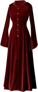 Ellymi Ladies Medieval Vintage Buttons Waist Hooded Long Sleeve Dress Vintage Womens Steampunk Victorian