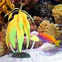 夜光草植物、水槽用の鮮やかな人工水中水族館造園飾り(赤)
