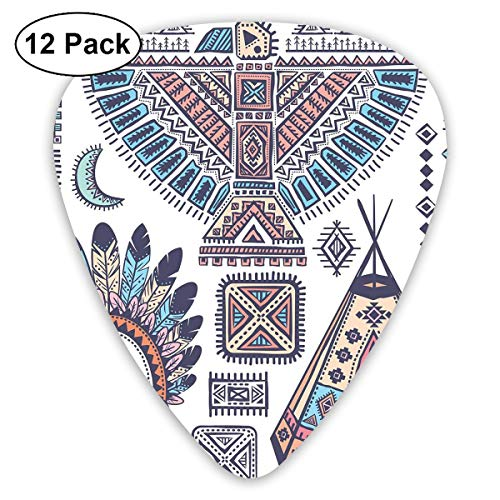 Guitar Picks12pcs Plectrum (0.46mm-0.96mm), Ethnic Teepee Tents Eagle Symbol Moon Sun And Feather Chief Hat Print,For Your Guitar or Ukulele