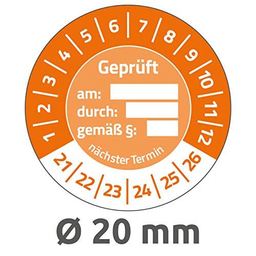 AVERY Zweckform 120 stuks testplaketten 2021-2026 getest op/door/volgens § (resistent, zelfklevend, Ø 20 mm, teststickers, beschrijfbaar zegel van vinyl plakfolie) 6959-2021 oranje