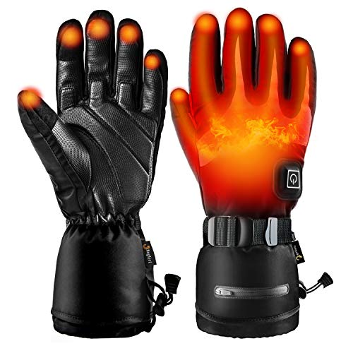 Heated Gloves for Men Women,Rechargeable 3.7V 7000mAh Battery,Electric Heated Gloves Heated 15 Hours for Skiing Walking Hiking Climbing Driving Cold Weather Gloves (Size: L)