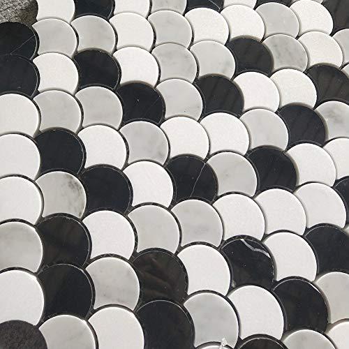 Difalrt Carrara White Italian Bianco Carrera Thassos Whtie Black Waterjet Marble Fish Scale Marble Mosaic Tile Pack of 5