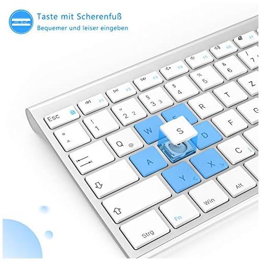 Jelly Comb Juego de ratón y teclado inalámbrico recargable QWERTZ ultra delgado de 2.4Ghz para PC, computadora de… 4