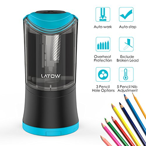 Electric Pencil Sharpener, LATOW Auto Stop Safety Heavy Duty Electric Pencil Sharpener for 6-12mm Diameter Pencils Ultra Portable for Home School Office Kids Artists with AC Adapter (Battery Operated)