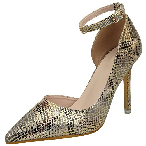 BIGTREE Ankle Strap High Heel Schuhe Damen Schlangenhaut Stiletto D'orsay Kleid Pumps Gold 37 EU