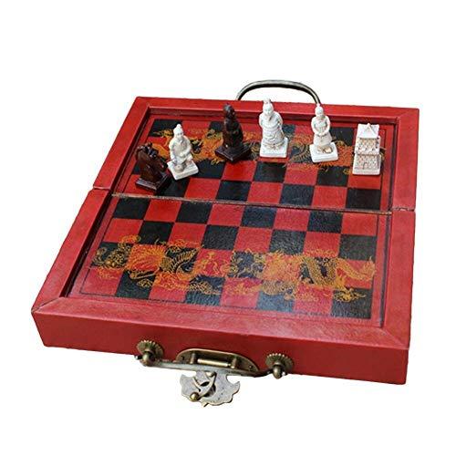 HYLX Juego de Tablero de ajedrez con Temporizador de ajedrez, 32 Piezas, Juego de ajedrez de Figuras de Soldados de Terracota con Juego de Mesa Plegable, Juegos Tradicionales