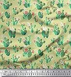 Soimoi Beige Viskose Chiffon Stoff Blumen & Kaktus Baum