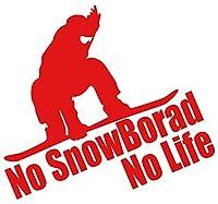 カッティングステッカー No SnowBoard No Life (スノーボード)・7 約180mmX約195mm レッド 赤