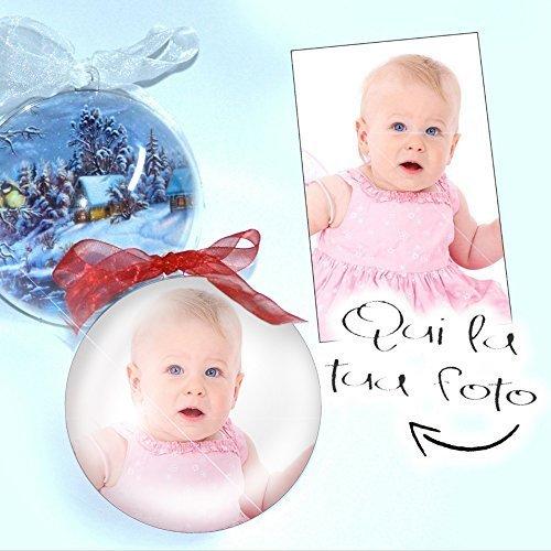 PieffeLine Palla di Natale Decorazione addobbo Personalizzata con Foto Stampata all'Interno Diametro Palline 10 cm